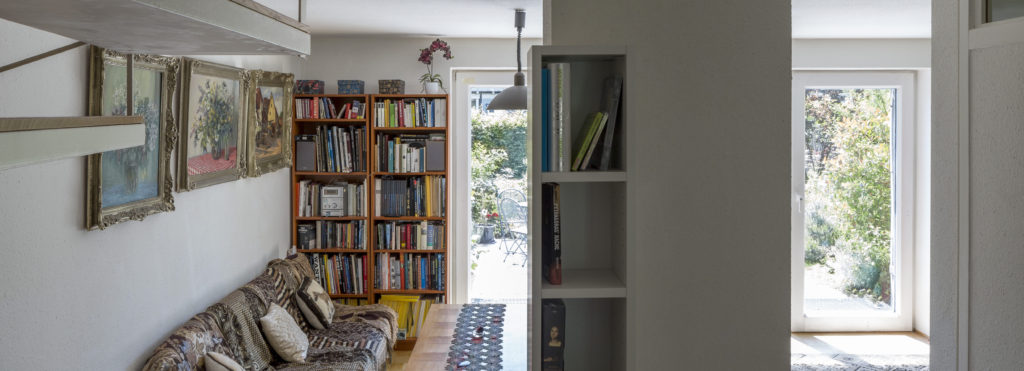 Inside the first Passive House. A bright and cosy interior that overlooks the garden: