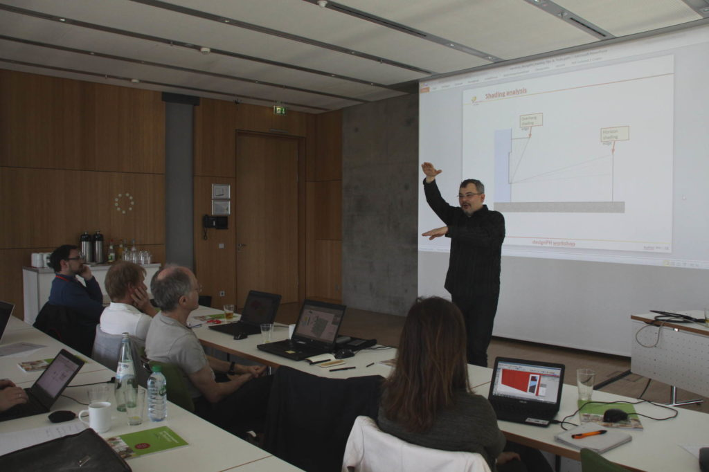 A Passive House Institute scientist teaching students about DesignPH