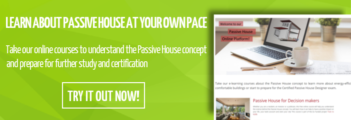 e-learning banner inviting readers to try out the Passive House online courses