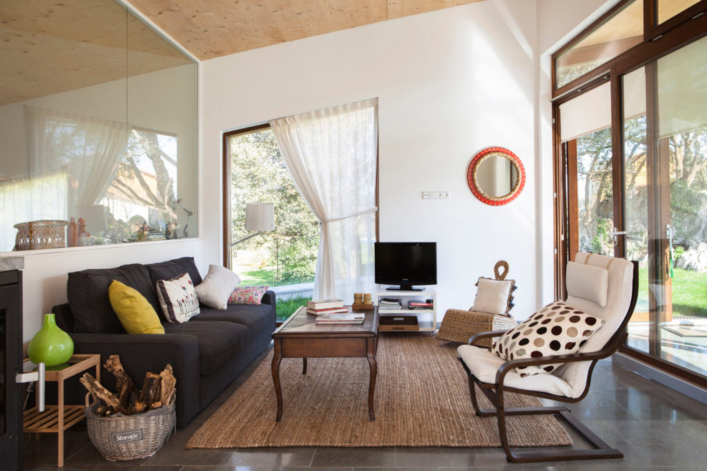 a comfortable front room in a certified Passive House in Spain