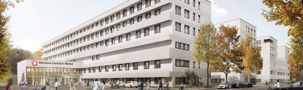 Exterior rendered view of the new hospital building in Frankfurt