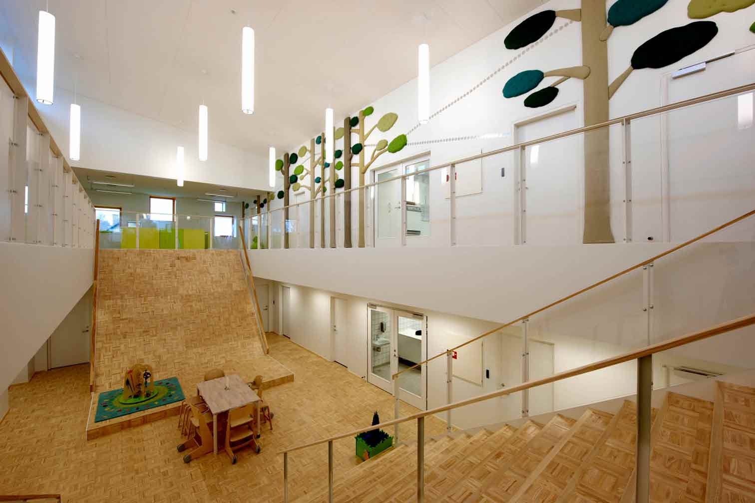 Interior view of a Passive House certified day care centre in Denmark