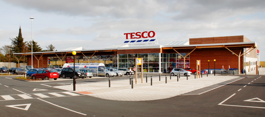Exterior view of the Tesco Eco-store which was built to the Passive House Standard