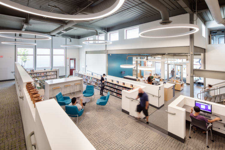 Interior view of a Passive House public library
