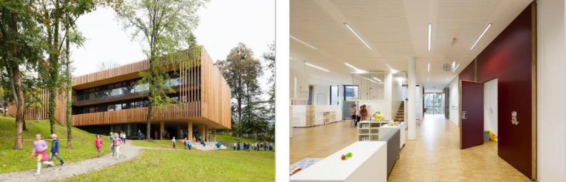 Exterior and interior views of an Austrian Passive House elementary school
