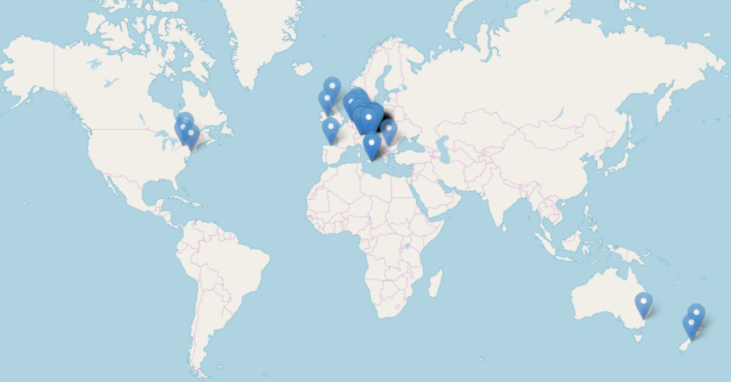 Map marked by blue markers showing the locations of Passive House projects around the world