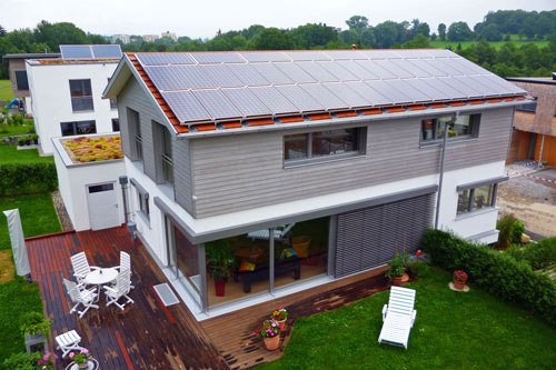 Example of a Passive House buildings with a roof full of solar panels