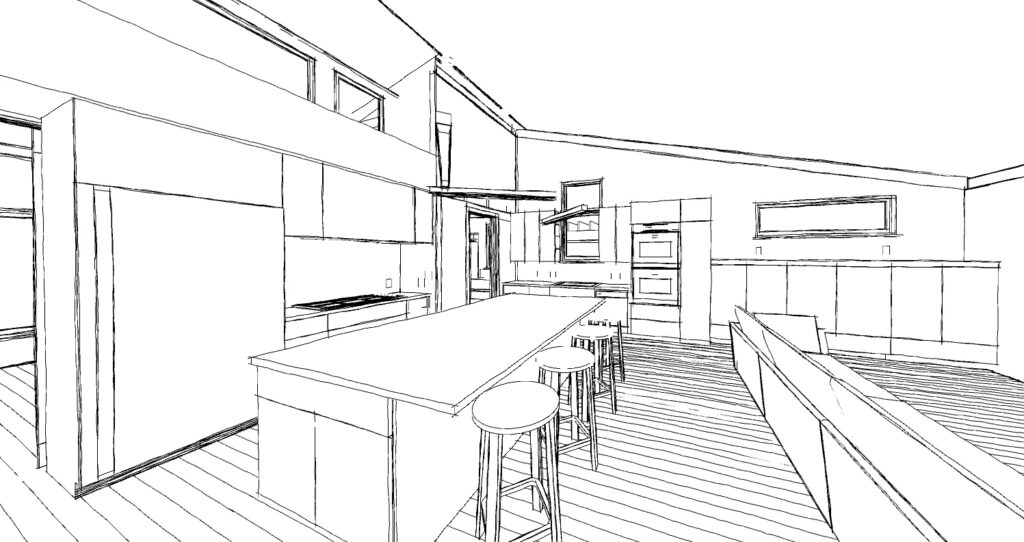 Black and white sketch rendering of the kitchen of one of Bronwyn's latest Passive House projects.