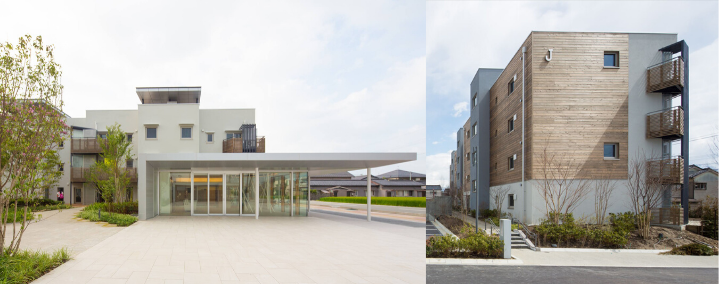 Two exterior images of the Passive Town development in Kurobe. The building is a variety of cool toned materials, textures, and colors.