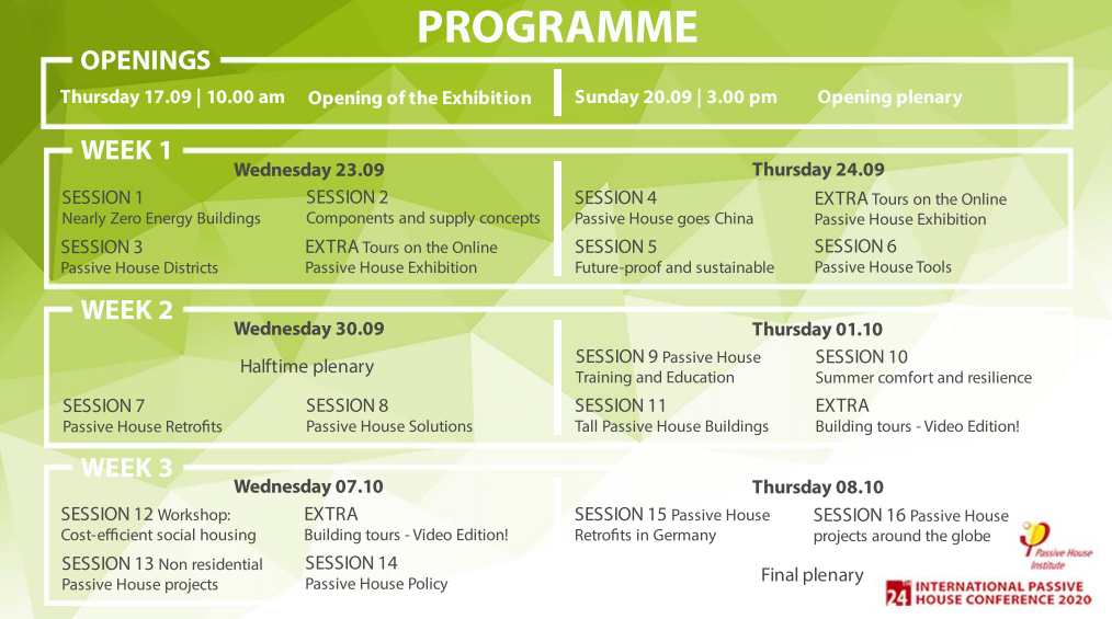 Green and white overview of the programme for the 24th International PH Conference.