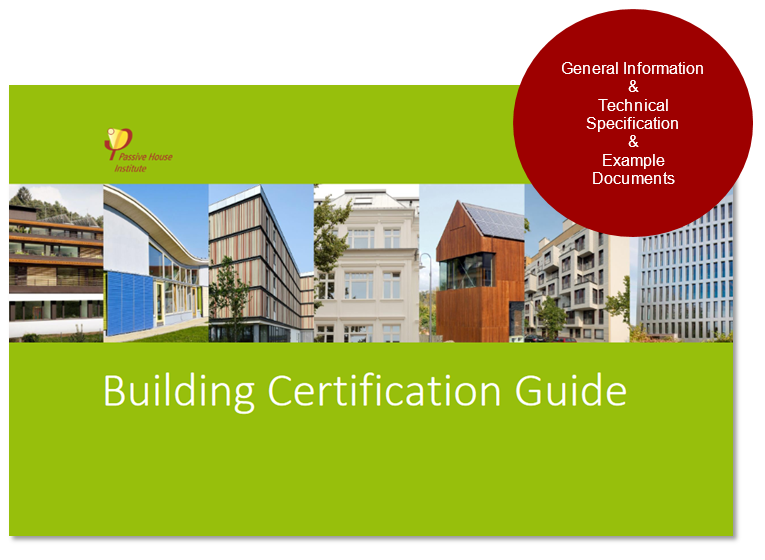 Front page of the digital Building Certification Guide which includes images of different certified Passive House projects on a green background